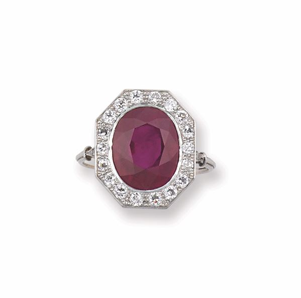 A Burma ruby ring. Gubelin report and SSEF report