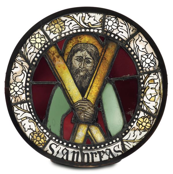 A polychrome glass depicting Saint Andrew. Glass artistry from Como, last decade of the 15th century - first decade of the 16th century