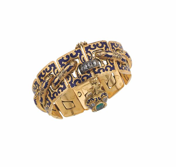 A gold, emerald and enamel bracelet with heart-shaped padlock