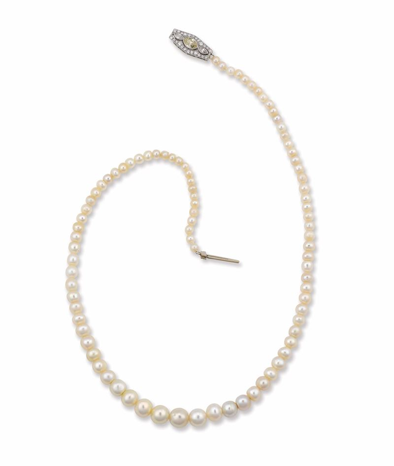 A natural pearl and diamond necklace  - Auction Fine Jewels - I - Cambi Casa d'Aste