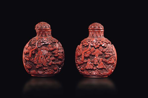 Two red lacquer snuff bottles with figures in relief, China, Qing Dynasty, 18th century
