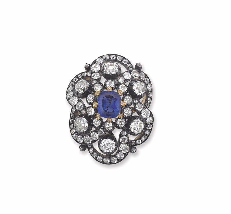 A sapphire, diamond and silver brooch  - Auction Fine Jewels - I - Cambi Casa d'Aste