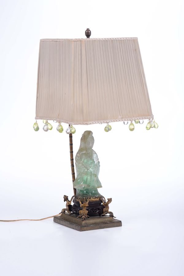 A lamp with jadeite figure of Guanyin, China, 20th century