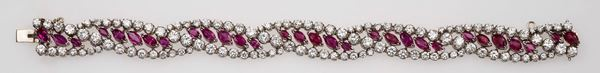 Bracelet in white gold set with rubies and brilliant-cut diamonds