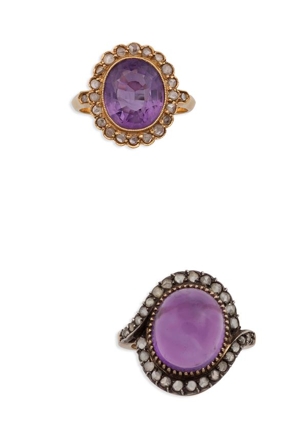 Two amethyst gold and silver rings
