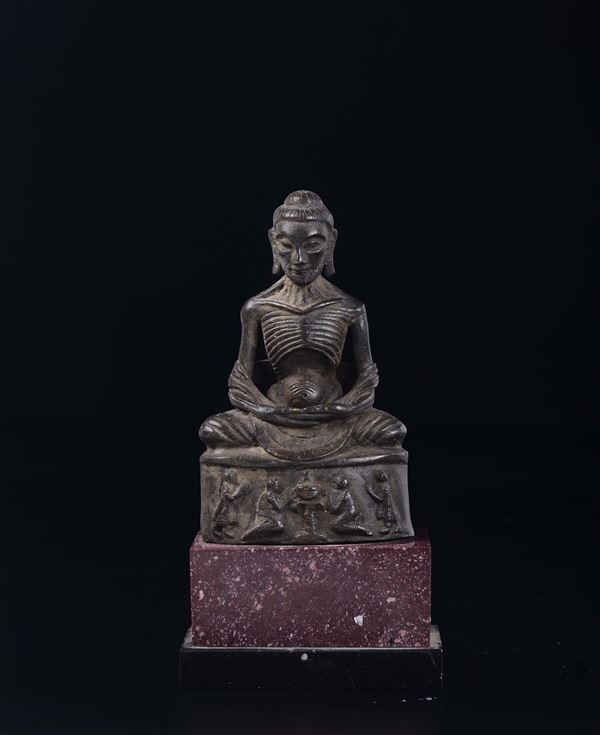 A bronze figure of Luohan with granite stand, Thailand, 19th century