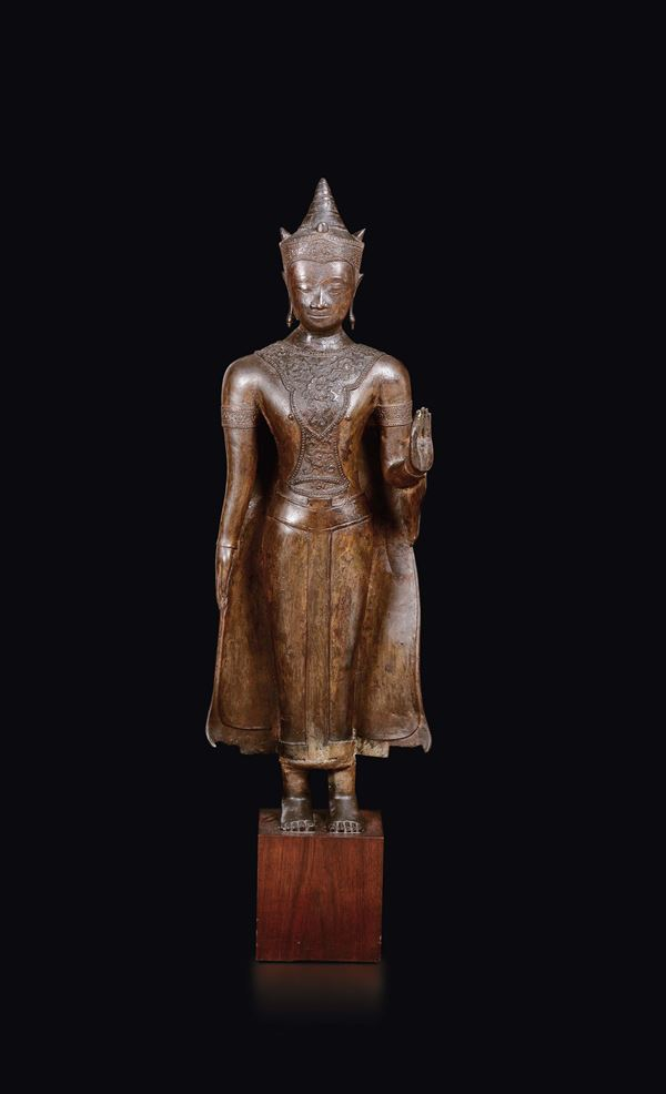 A large bronze figure of standing Buddha, Thailand, 17th century