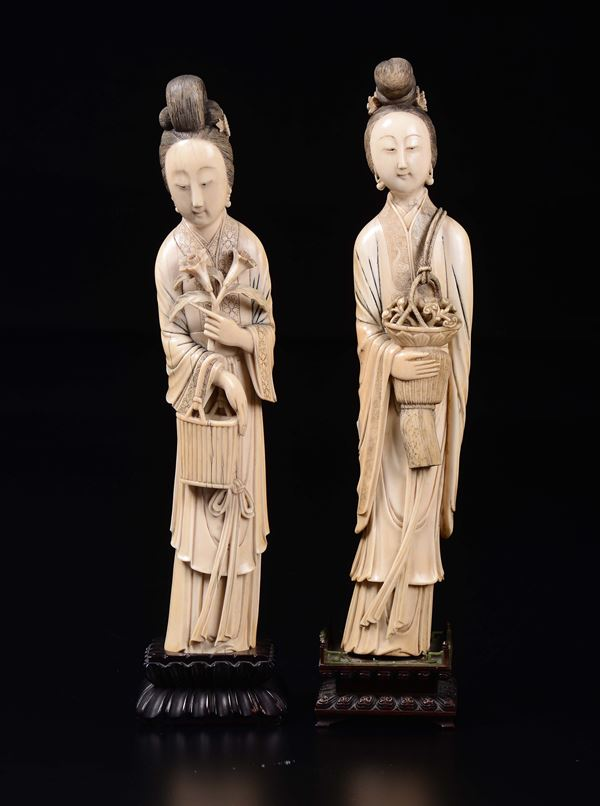 Two carved ivory figures of Guanyin, China, early 20th century