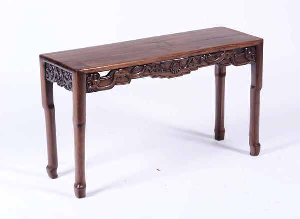 A fretworked homu table, China, Qing Dynasty, 19th century