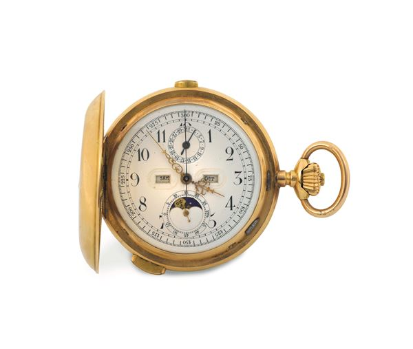 ANONYMOUS, large, astronomic, minute repeating, 18K yellow gold hunting-cased keyless pocket watch with chronograph, triple date calendar and moon phases. Made circa 1900