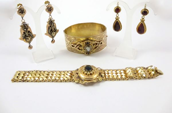 Two pair of gold earrings and two gold bracelets