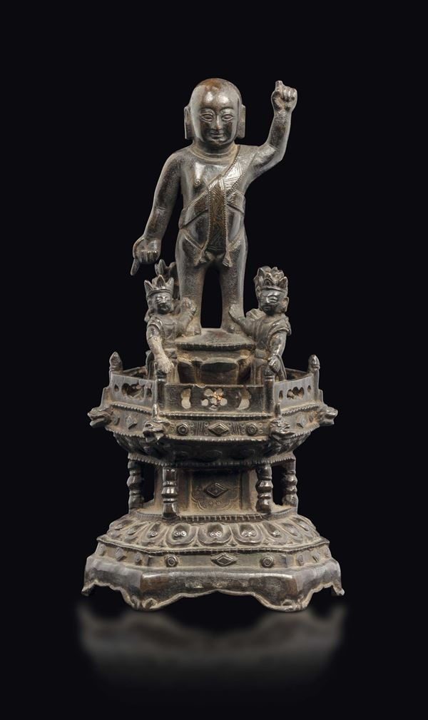 A bronze Oboy and figures group, China, Ming Dynasty, 17th century