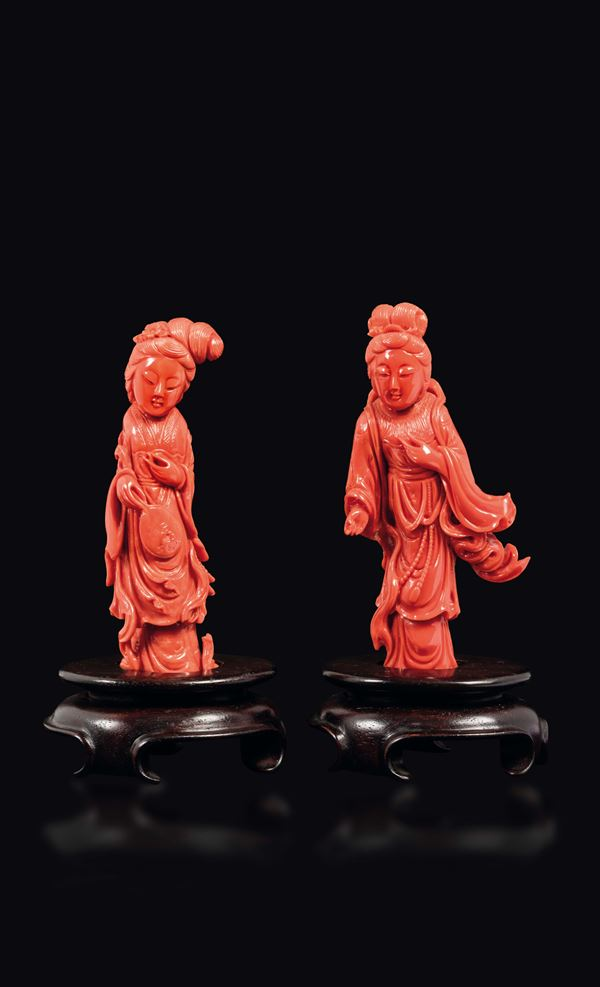 Two small carved coral figures of Guanyin, China, early 20th century