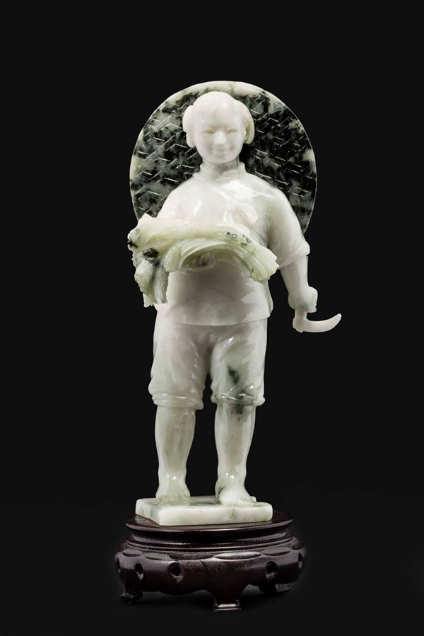 A green jade figure of peasant, China, 20th century