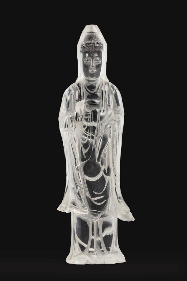 A rock crystal figure of Guanyin, China, 20th century