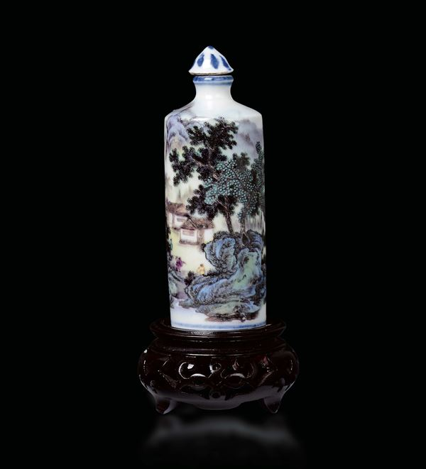 A polychrome enamelled porcelain snuff bottle with river landscape, China, Qing Dynasty, 19th century