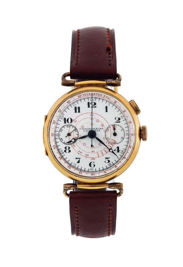 LEMANIA, SINGLE BUTTON CHRONOGRAPH, YELLOW GOLD. Fine and rare, 18K yellow gold  wristwatch with single button chronograph, tachometer, telemetre and  register. Made circa 1930.