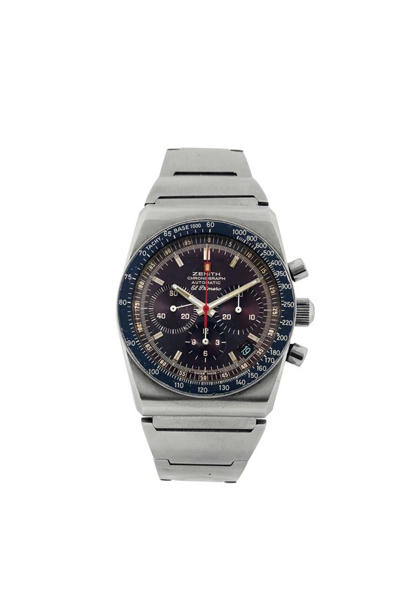 ZENITH, EL PRIMERO,  Chronograph, Automatic, , Ref. 249E830. Fine and  rare, tonneau shaped, self-winding, water-resistant, stainless steel wristwatch with round button chronograph, tachometer, registers , date and a stainless steel Zenith bracelet with deployant clasp. Made in the 1970's.