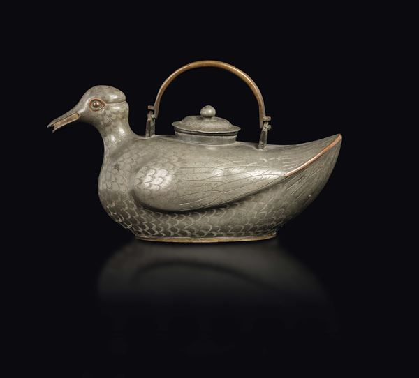 A pewter duck teapot, China, Qing Dynasty, 19th century