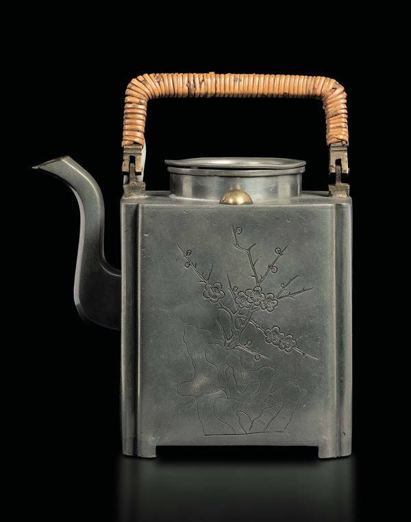 A pewter teapot with flowers, China, Qing Dynasty, 19th century