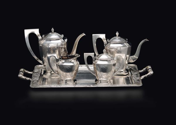 A silver tea set with tray, China, Qing Dynasty, 19th century