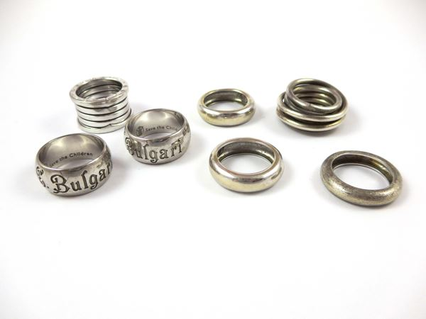 Collection of seven gold and silver rings. Three of the signed Bulgari
