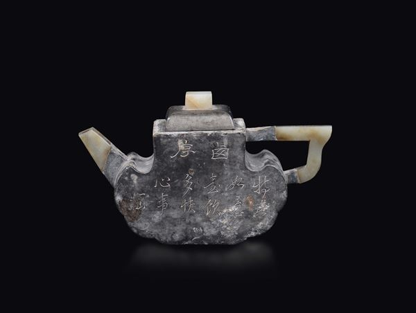 A pewter teapot with inscriptions and jade details, China, Qing Dynasty, 19th century