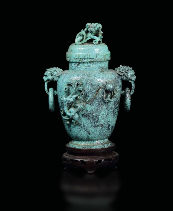 A turquoise vase and cover with animals in relief, China, Qing Dynasty, 18th century