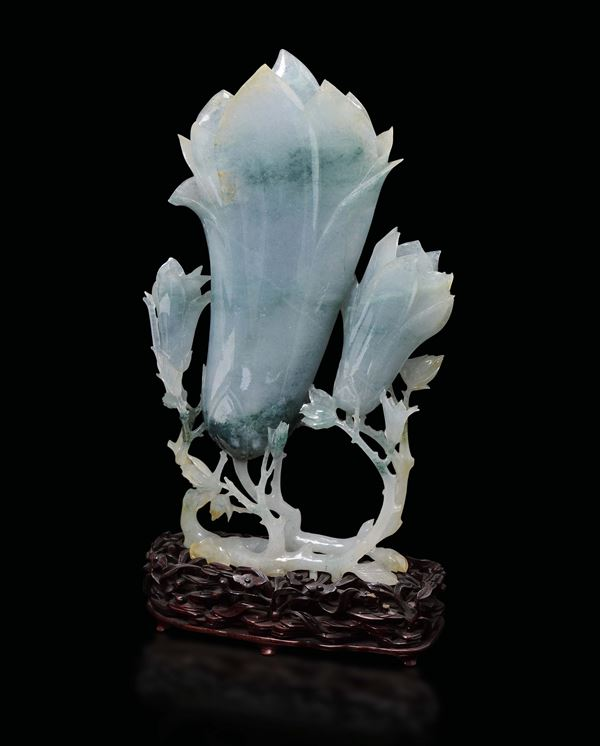 A large jadeite buds group, China, early 20th century