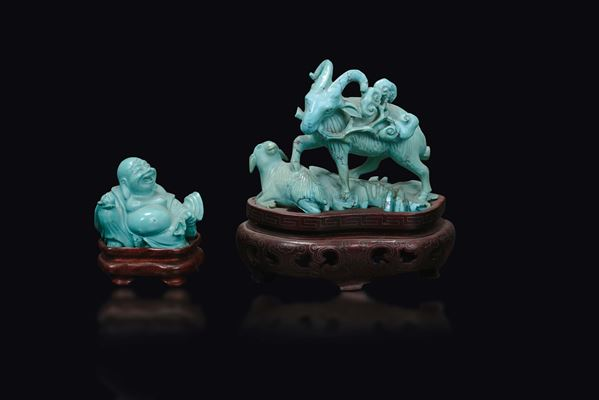 Two small turquoise groups, a Budai and two goats, China, Qing Dynasty, 19th century
