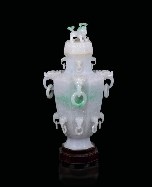 A large apple green shades jadeite vase and cover with Pho dog-heads ring handles, China, early 20th  [..]