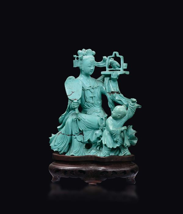 A turquoise Guanyin with child and songbird group, China, early 20th century