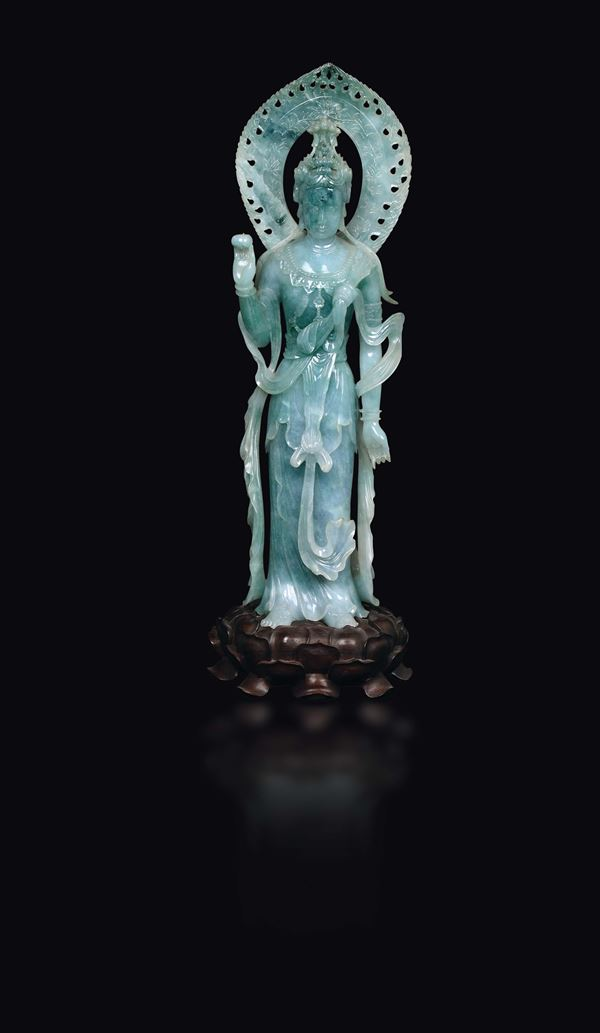 A large jadeite figure of goddess with aura, China, early 20th century