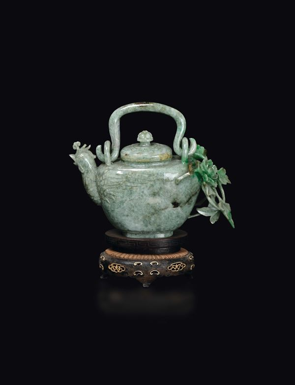 A jadeite teapot with phoenix-head spout, China, early 20th century