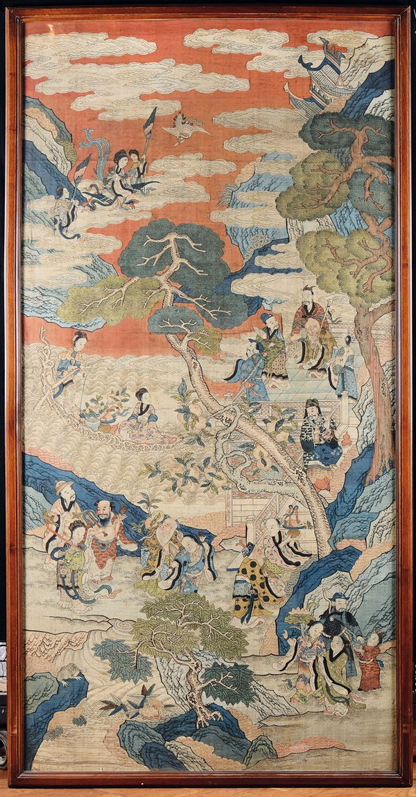 An important Imperial silk Kesi depicting imaginary scene with Guanyin and wise men between clouds,  [..]