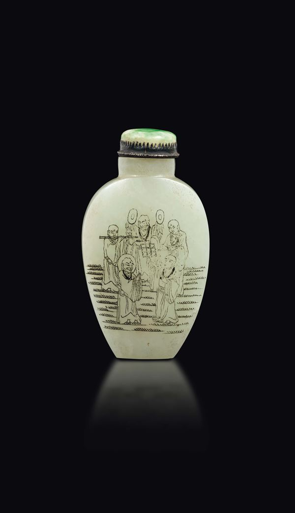 A Celadon white jade snuff bottle with wise men and inscriptions with jadeite stopper, China, Qing Dynasty