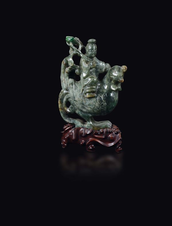 A green jade wise man on a chicken group, China, Qing Dynasty, 19th century