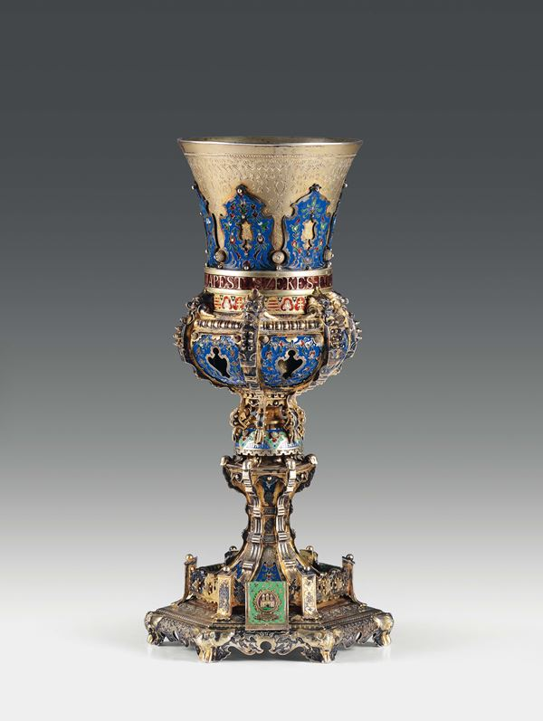 An important cup in molten, embossed, chiselled and gilded silver and polychrome enamels, Budapest 1896,  [..]