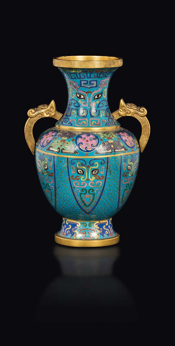 A two handles cloisonné enamel vase with taotie mask, China, Qing Dynasty, 19th century