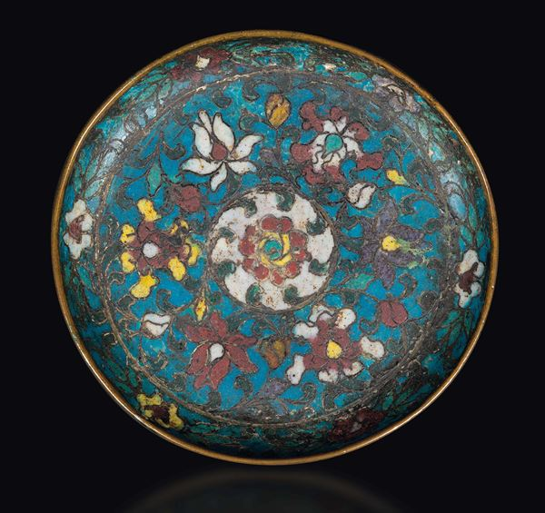 A small cloisonné enamel dish with flowers, China, Ming Dynasty, second half of 15th century