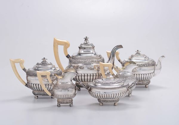 A tea and coffee service made up of six pieces, silversmith Wollenwfber, Germany end of the 19th century
