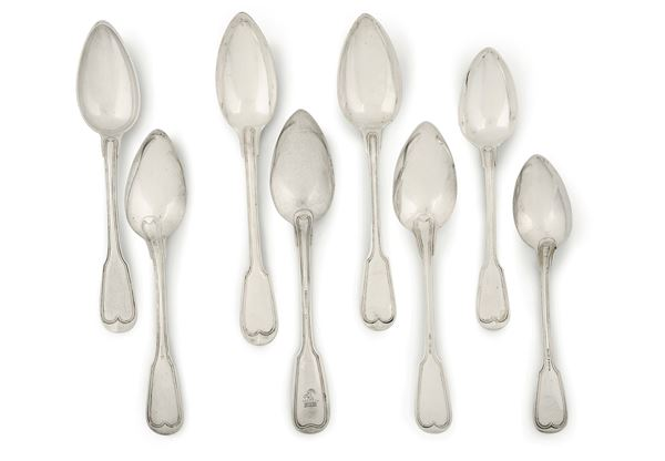 A set of twelve spoons with a crest, 31 without crest and 16 teaspoons, silver, Ausburg 1826 (?)