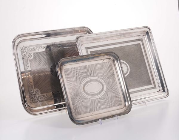Lot of three rectangular trays in engraved silver-plated metal, Italy 19-20th century