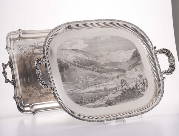 Two trays in silver-plated and chiselled metal, Italy or Germany 19-20th century