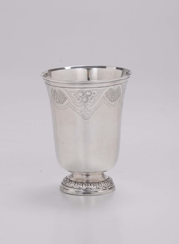 A glass in molten, embossed and chiselled silver, Paris last quarter of the 18th century, master silversmith Francois Corbier (1777-1853)