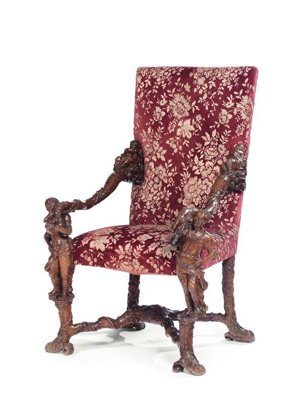 An armchair in carved wood, attributed to the ebonist and sculptor from Veneto, Valentino Panciera Besarel (1829-1902)