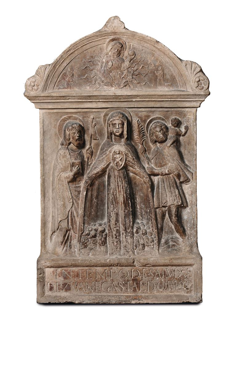 A marble bas-relief depicting the Virgin of Mercy and the Saints, Venice, end of the 15th century, Marco Pirleto's circle.  - Auction Sculpture and Works of Art - Cambi Casa d'Aste