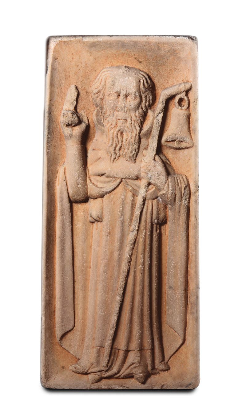 Saint Anthony the Great. A sculptor from Northern Italy, 14th-15th century.<br>S.Antonio Abate  - Auction Sculpture and Works of Art - Cambi Casa d'Aste