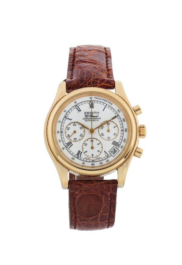 ZENITH, El Primero Chronograph Automatic, stainless steel and gold plated chronograph wristwatch with date, tachometer and an original gold plated buckle. Made circa 1990
