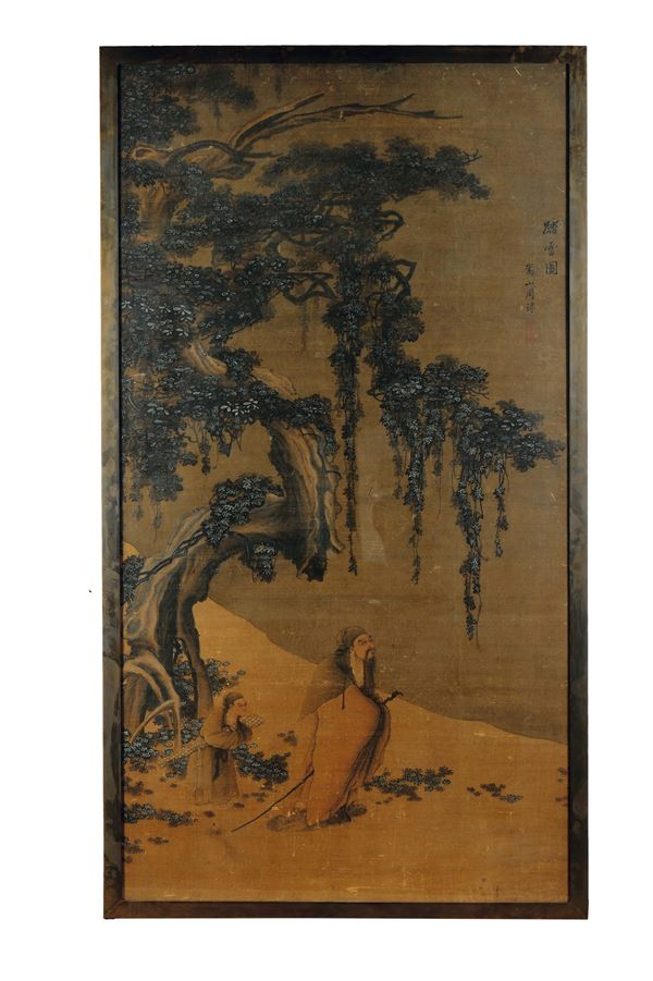 A large painting on paper depicting wise man with child underneath a tree and inscription, China, Qing  [..]